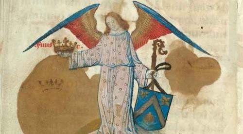 Figure 1. Ange portant les armes de l'abbé jacques de Coene. Douai, Bil. mun., ms. 97, f. 155v.