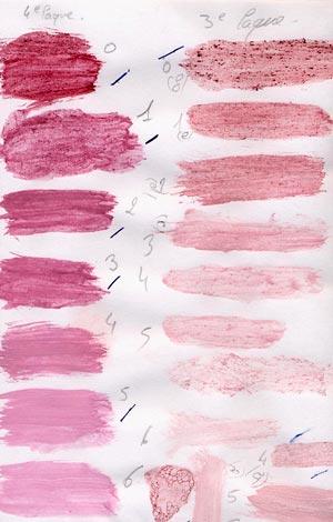 Illustration 4 : Palettes de glacis (au blanc d'œuf) et couches opaques de brésil (laques à l'acétate de plomb et bicarbonate de sodium mêlées à du blanc de plomb).
