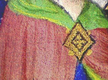Illustration 6 : Détail d'un rose de brésil sur lequel sont dessinés des traits plus foncés de glacis de laque de brésil Maître d'Orose, Manteau de Sainte Anne Châteauroux, ms. 2, détail du folio 250v.