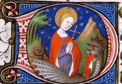 Illustration 7 : Violet d'enluminure attribuée au Maître de Boucicaut. Sainte Marguerite et le dragon Châteauroux, ms. 2, f.  235v.