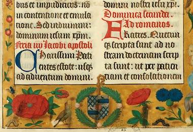 Figure 2. Armes de Charles Coguin, abbé d'Anchin. Douai, Bibl. mun., ms. 102, f.1.