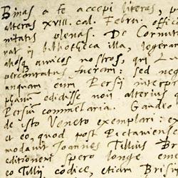 Écriture de l'humaniste bordelais Elie Vinet (1509-1587) Lettre adressée à Pierre Daniel. Bern, Burgerbibliothek, cod. 141, f. 23