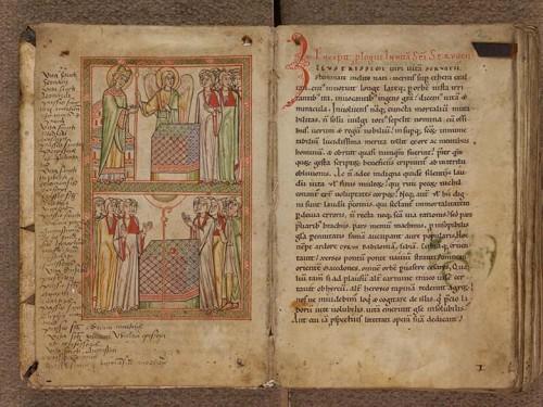 Légendier de Cologne (XIIe s.), f. 1v : scènes de la Vie de saint Servais.Collection privée, CP 438, f. 1v - 2