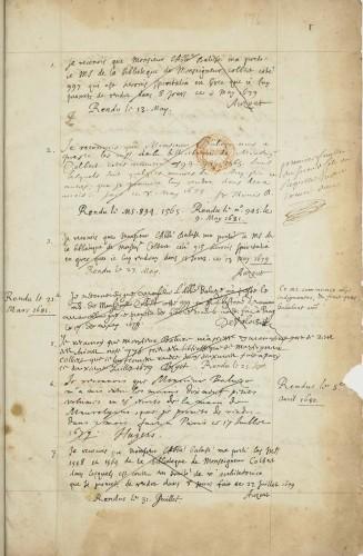 Catalogues et documents divers relatifs aux manuscrits de Colbert, la plupart rédigés ou recueillis par Étienne Baluze. BnF, Départ. des mss, Latin 9366, f. 1r