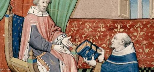 Auteur remettant son ouvrage à Charles V, Rouen, BM, ms. 977, f. 1