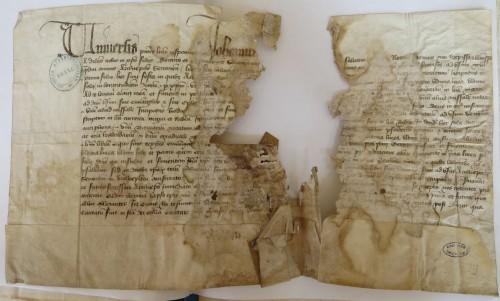 Reconnaissance par Jean de Montaigu l'archevêque de Sens d'un prêt de livres par le chapitre pour son usage, 15 mai 1408. Archives départementales de l'Yonne, G 709.