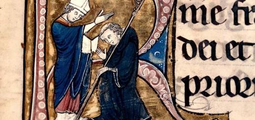 Bénédiction d'un abbé de chanoines réguliers, Besançon,BM, ms. 138, f. 96.