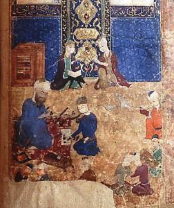 Copie réalisée sans doute vers 1460-1465, vraisemblablement à Bagdad, pour le sultan Pîr Budâq. Paris, BnF, ms. suppl. persan 1964, f. 22v.