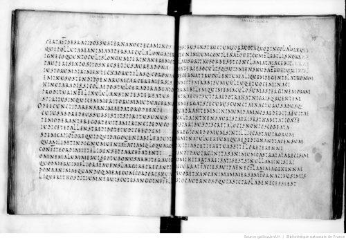 Figure 3: Scriptio continua en capitale rustique (ms. Paris, BnF, latin 8084, fol. 98v-99r).