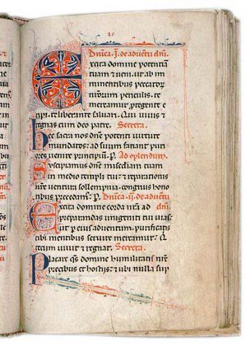 Avignon, Bibl. mun., ms. 143, f. 20. Sacramentaire de Caromb, France, fin du XIIIe s.