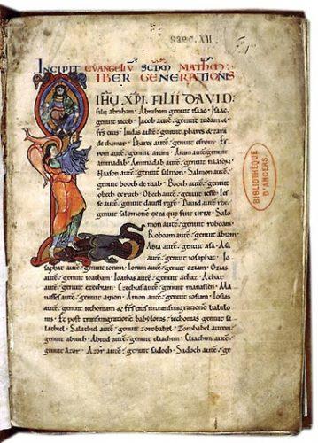 Angers, Bibl. mun., ms. 25, f. 1. Livre d'évangiles, Angers, première moitié du XIIe s.