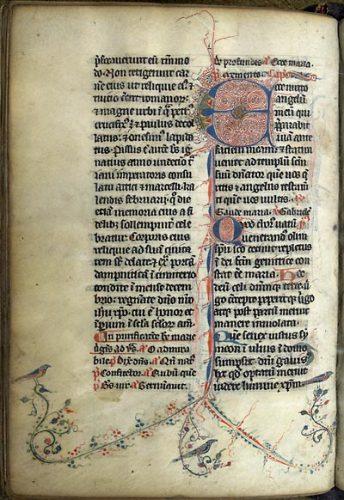 Paris, Bibl. de l'Université, ms. 1221, f. 411v. Bréviaire de Senlis, France, début du XIVe s.