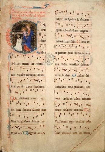 Cambrai, Bibl. mun., ms. 29 (f. 227-258), f. 227. Hymnaire à l'usage de Cambrai, Cambrai, 1381.
