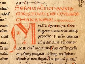 Cambrai, Bibl. mun. ms. 863, f. 196. Lectionnaire de l'office (lectures hagiographiques et patristiques du sanctoral), Cambrai, abbaye Saint-Sépulcre, 1076-1092.
