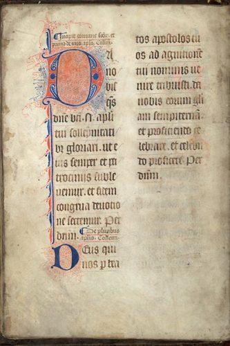 Cambrai, Bibl. mun., ms. 42, f. 72v. Collectaire à l'usage de Cambrai, Nord de la France ? seconde moitié du XIVe s.