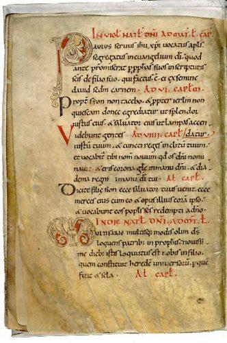 Angers, Bibl. mun., ms. 103, f. 10v. Collectaire à l'usage de l'abbaye Saint-Maixent, Saint-Maixent, XIe s.