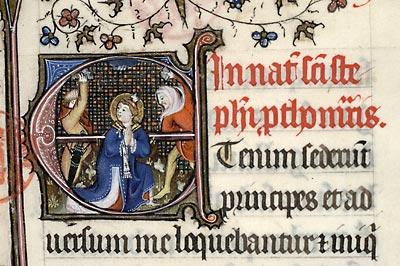 Paris, Bibl. Mazarine, ms. 416, f. 257. Missel à l'usage du prieuré Saint-Martin-des-Champs de Paris, Paris, 1408.
