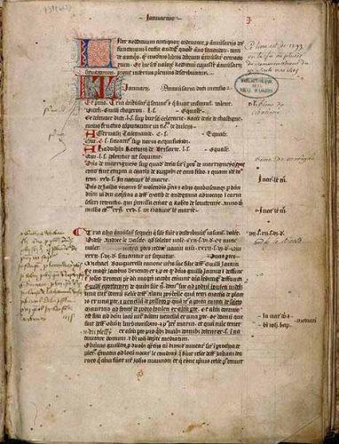 Angers, Bibl. mun., ms. 737, f. 1. Livre de distributions de la cathédrale d'Angers, Angers, fin du XIVe s.
