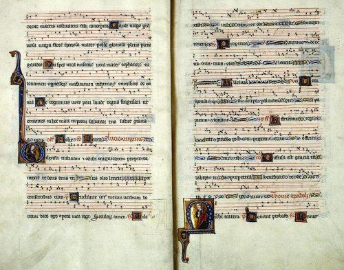 Limoges, BM, ms. 2, f. 10v-11. Graduel de l'abbaye Notre-Dame de Fontevraud, Paris, vers 1250-1260.