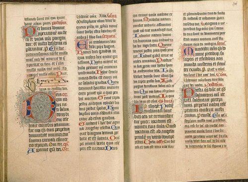Paris, Bibl. Sainte-Geneviève, ms. 94, f. 35v-36. Missel à l'usage du prieuré Saint-Lô de Rouen, Rouen ? fin du XVe s.