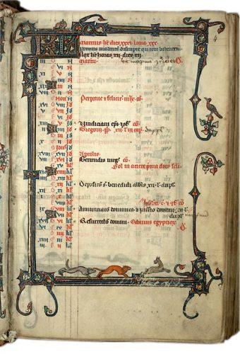 Cambrai, Bibl. mun., ms. 102, f. 4. Bréviaire de l'abbaye Saint-Sépulcre de Cambrai, Nord de la France, vers 1290.