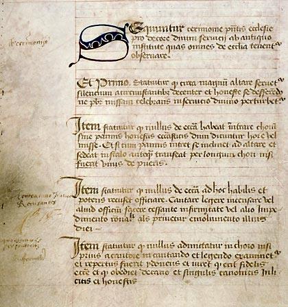 Angers, Bibl. mun., ms. 777, f. 8v. Statuts de la collégiale Saint-Pierre d'Angers, Angers, vers 1465
