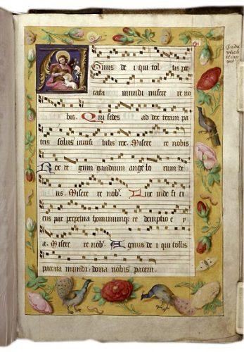 Douai, BM, ms. 124, f. 16. Tropaire-prosaire à l'usage de l'abbaye d'Anchin, Nord de la France, premier quart du XVIe s.