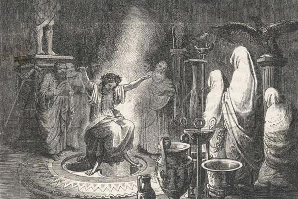 """Jemandem, der sich nicht intensiv mit der Forschungsgeschichte des Schamanismus beschäftigt hat, kann es so scheinen, als könnte man auch das Delphische Orakel in diese Tradition einordnen. (Heinrich Leutemann """"Das Orakel von Delphi"""", Gemeinfrei)."""