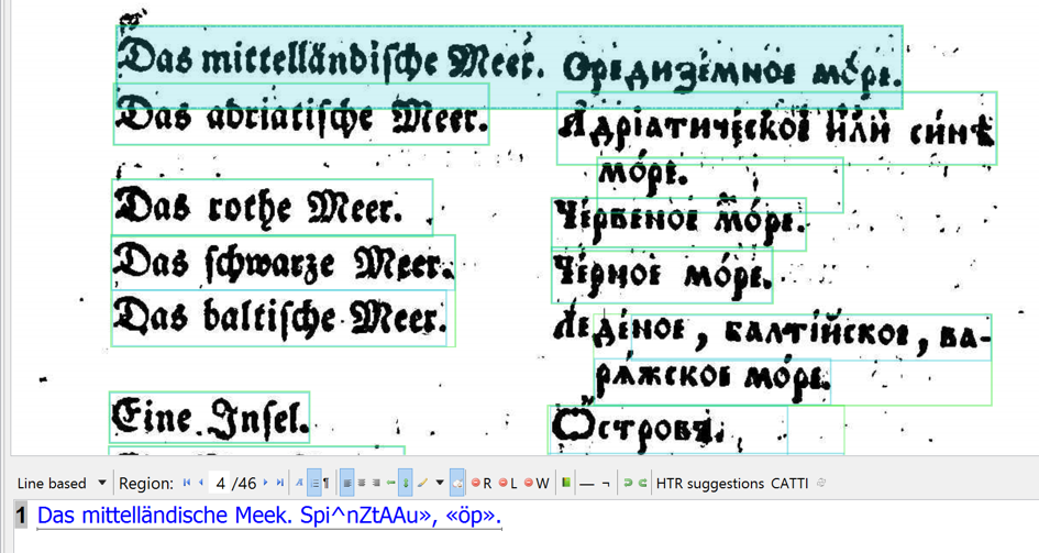 Example 3. Rechnik Maly: the German OCR works a bit, the (old style) Cyrillic is usesless.