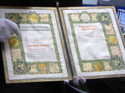 Nobel-Urkunde für Ferdinand Braun (1850-1918) Foto Deutsches Museum, alle Rechte vorbehalten