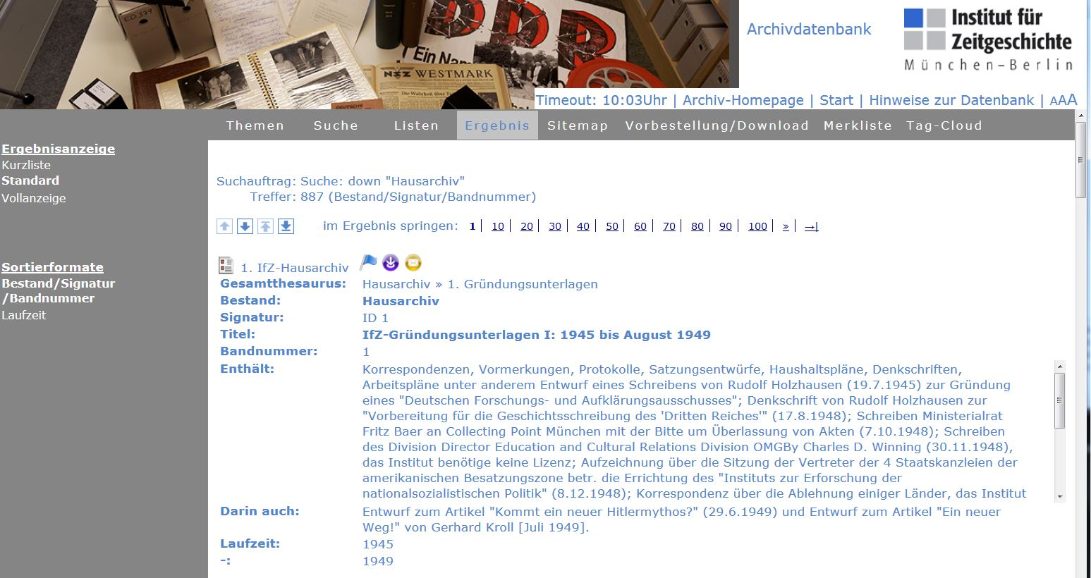 Onlinedatenbank IfZ