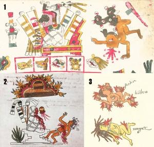 Fuente: 1. Códice Borgia, lámina 26 (detalle). 2. Códice Magliabechiano, folio 66r. 3. Códice Telleriano-remensis, folio 17r (detalle).