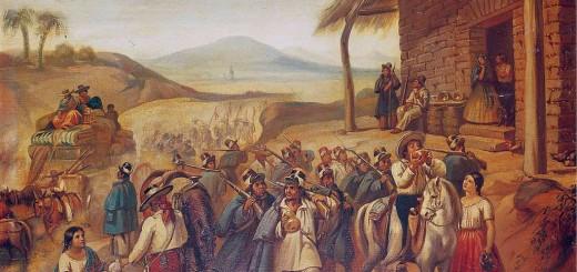 Soldados de la Reforma en una venta, 1858, óleo sobre tela, 58.5 x 73 cm, Museo Nacional de las Intervenciones.