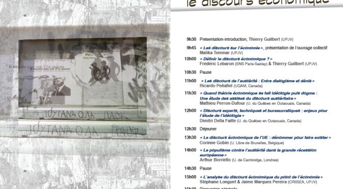 JE «Analyser le discours économique», Amiens, Université de Picardie, 4 mai 2017