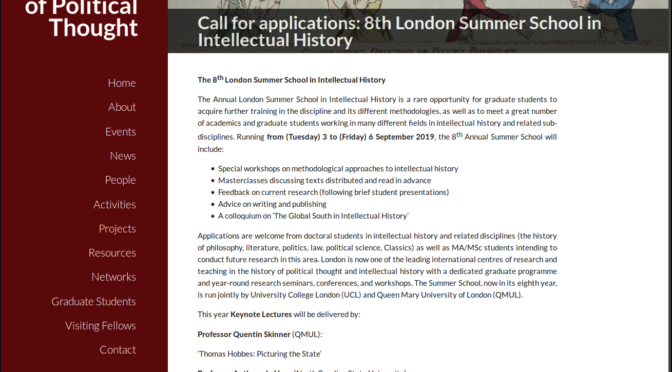 CfA: 8th London Summer School in Intellectual History, London, UCL/QMUL, 3-6 september 2019