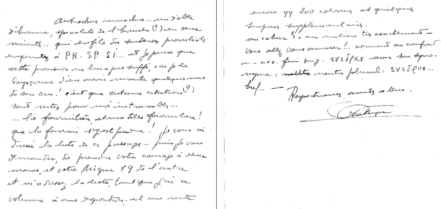 Extrait d'une lettre de G. Valayer