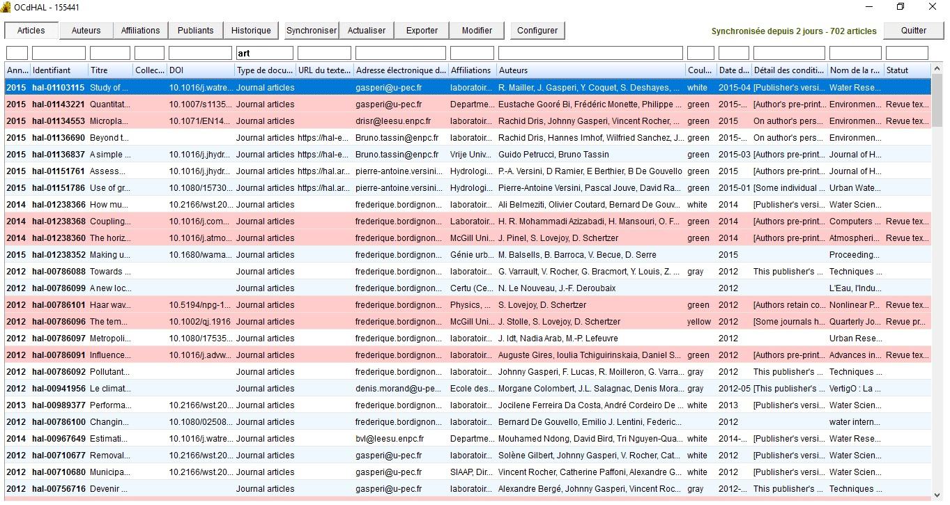 Capture d'écran de l'interface de gestion d'OCdHAL