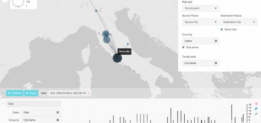 Copie d'écran du logiciel en ligne Palladio (Juin 2014)  Une fois les données manipulées, Palladio offre la possibilité de croiser différents outils visuels d'exploration et de filtrage --- Plus d'informations : http://palladio.designhumanities.org/