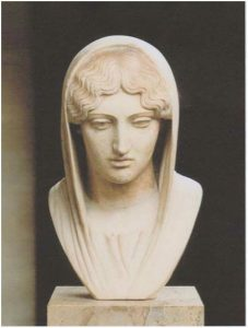 Tête de femme voilée du type de l'Aphrodite Sôsandra, dite Aspasie (Copie romaine d'époque impériale), vers 460 av J-C, Paris, musée du Louvre.