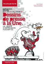 """Invitation à l'exposition """"Dessins de presse à la une"""", Les Champs Libres, Rennes"""