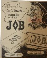 Publicité de presse pour le papier à cigarettes Job (1949)