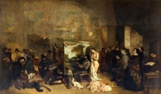 """Courbet, """"L'Atelier du peintre"""", 1855, Huile sur toile, 361 × 598 cm"""