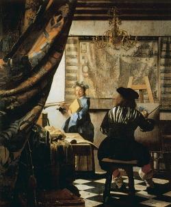"""Vermeer, """"L'atelier du peintre"""", 1665-67, Huile sur toile, 120 x 100 cm"""