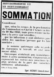 Affiche allemande contre la grève des mineurs, Lille, 3 juin 1941