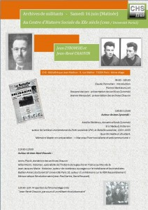 Affiche de la demi-journée d'étude sur Jean Zyromski et Jean-René Chauvain