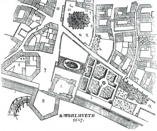 Bonifaz Wohlmuehs Stadtplan von 1547. (12) Michaeler-Friedhof, (11) Michaelerkirche, (1) Burg, (2) Burgbastei, (4+5) Ziergärten, (10) Kohlmarkt, (9) Herrengasse, (13) damalige Preidengasse, heutige Habsburgergasse