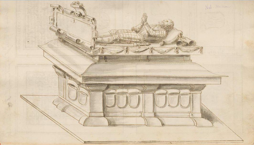 Zeichung des Grabmals im Grabsteinbuch des Johann Franz Eckher von Kapfing und Liechteneck (1649-1727), ab 1695 Bischof von Freising. Aufbewhrt in der Bayerischen Staatsbibliothek, Sign. Cgm 2267 (1-4)