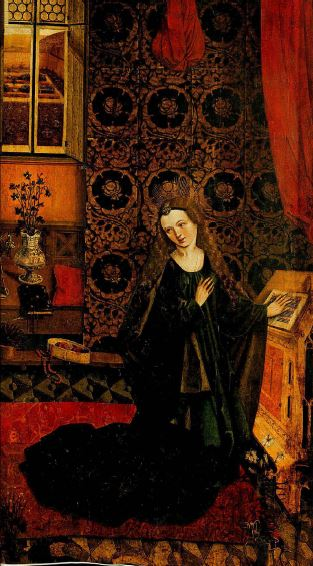 Ausschnitt Maria aus einer Verkündigung, Ruprecht Futrer (?) um 1470/80. Domschatz- und Diözesanmuseum Passau, lnv.-Nr. D 381