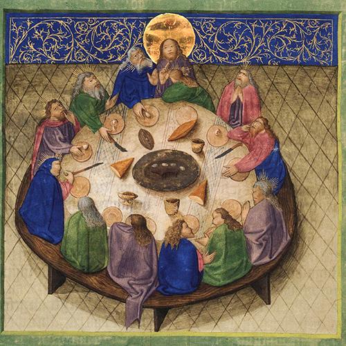 Ottheinrichsbibel, Letztes Abendmahl, erste Ausstattungsphase um 1430 (Bayerische Staatsbibliothek)