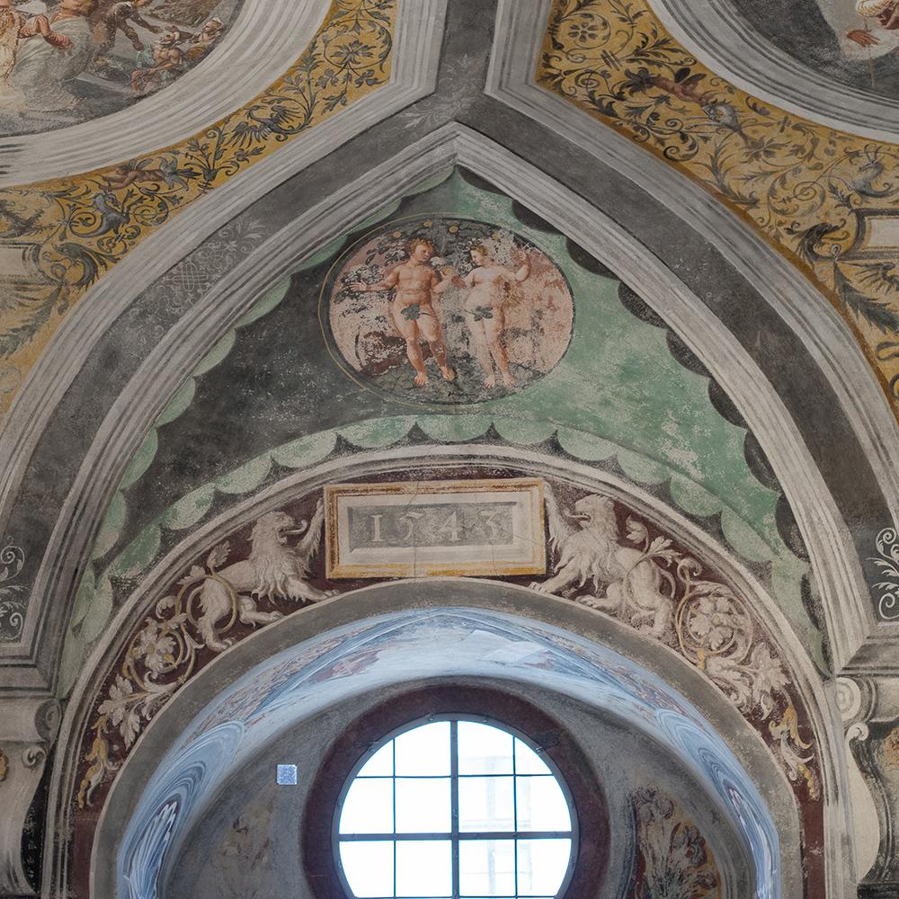 Schloss Neuburg an der Donau, Ausmalungsdetail in der Schlosskapelle von Hans Bocksberger dem Älteren 1543